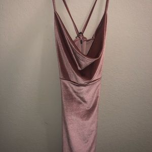 Misguided pink cowl neck dress